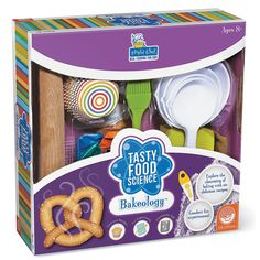 Discover the scientific principles behind your favorite foods while creating a biochemistry bakery. Make six mouth-watering recipes, including soft golden pretzels that come to life through the power of yeast and fluffy pancakes that result from a chemical reaction. As kids cook, they'll also conduct detailed experiments and record their findings in a lab book.  http://mindware.com/bakeology-science-kit-a2-68456-12-1.fltr?Ntt=bakeology