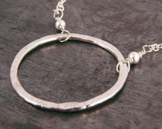 Necklace Hammered Fine Silver Ring Sterling by LindenLeafStudio, 32.00