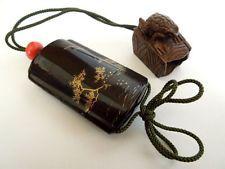 Japonesa caja de la píldora de madera laca Makie INRO Talla de la rana Netsuke