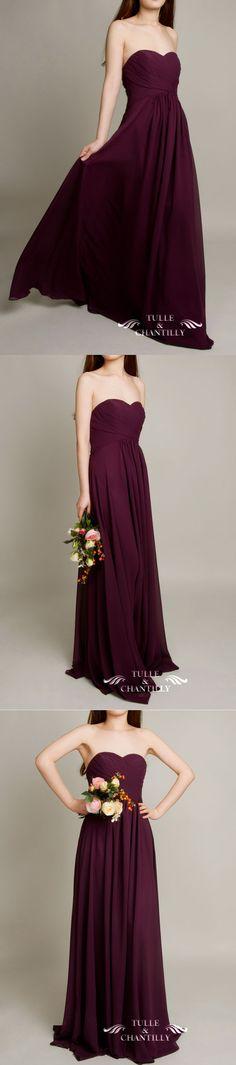purple wedding color ideas and long sweetheart aubergine dark purple bridesmaid dress