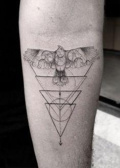 Geometric Hawk Tat - https://www.tattooideas1.org/placement/forearm/geometric-hawk-tat/