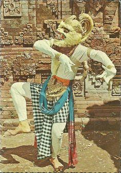 Wayang Orang Hanoman, Ramayana Dance. Postcard, Bali.
