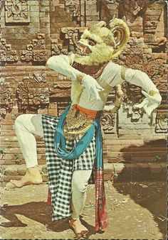 Dear Students, For Extra Credit, why not spend about 20 minutes drawing this into your composition notebook? Sincerely, Professor Chewbacca the-two-germanys:  Wayang Orang Hanoman, Ramayana Dance.Postcard, Bali.