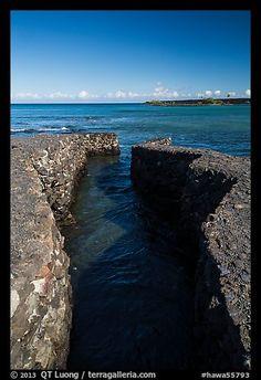 Walled stream and Kiholo Bay. Big Island, Hawaii, USA