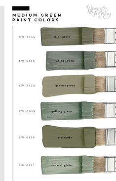 My Favorite Green Paint Colors. My Favorite Green Paint Colors - Room for Tuesday. In honor of St. Patrick's Day this weekend, I'm sharing my favorite green paint colors. Whether you're painting a wall or furniture, save these swatches! Green Paint Colors, Exterior Paint Colors, Paint Colors For Home, House Colors Exterior Green, Green House Paint, Colours, Cabin Paint Colors, Green Shades Of Paint, Green Wall Color