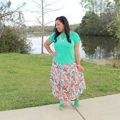 teal sandals and teal top with mint and coral chiffon arrow maxi, modest outfit idea