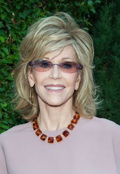 Jane Fonda Medium Layered Hairstyle - Jane wore her hair in chic tousled layers.