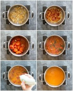Roasted Tomato Soup with Fresh Tomatoes and Basil - the ultimate homemade soup which is absolutely bursting with flavour! Roasted Tomato Soup, Roasted Tomatoes, Veg Recipes, Cooking Recipes, Recipies, Homemade Soup, Comfortfood, Weight Watchers Meals, Basil