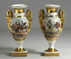 Pair of Old Paris Vases w/Napoleon Battle Scenes, 19th century.