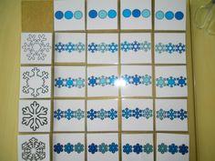 Matrix niveau 3 thema winter: verschillende soorten sneeuwvlokjes + kleurschakering volgorde *liestr*