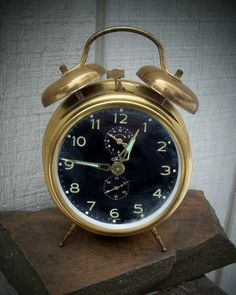 Vintage Brass Wind Up Bradley Alarm Clock West Germany Double Bell | eBay