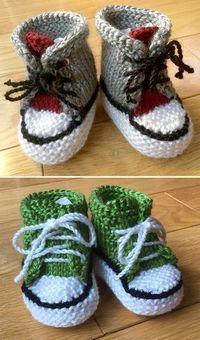 Free Knitting Pattern for Little Converse Booties - Baby booties inspired by the iconic athletic shoe in a variety of variations. Size 0-6 months. Worsted weight yarn. Designed by blanchn