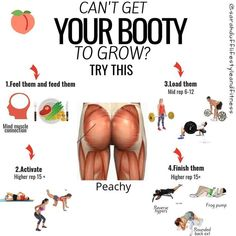 CAN'T GET YOUR BOOTY TO GROW! Hello peachy pearl! How are you? Different parts of your glutes respond to better to different stimulus so to if you include a range you've got all based covered. Exercise selection you want to include a higher proportion of hip dominant exercises (deadlifts, hip thrusts)  as opposed to knee dominant (squats / lunges). This applies to all your training, if you aren't feeling the muscle in action, likelihood is it's asleep.