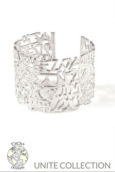 UNITE COLLECTION grande cuff in sterling silver incorporates letters and symbols from languages spoken around the world for a true statement piece.