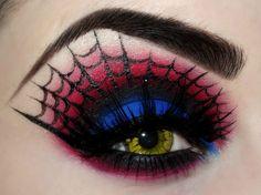 maquillage d'Halloween femme 2016 : toile d'araignées autour des yeux et fards…