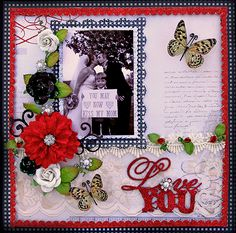 "The oh so gorgeous, and completely romantic Scraps Of Elegance Kit-LoveSong debuted on February 1st, and now it is time for the Design Team to show off their work with it.    This is a layout that was based on this month's kit sketch and it features a photo of my Aunt Annie's daughter, Michelle, when she got married just a few months ago. She has a son, Mason from a previous marriage, and I thought this was just such a cute photo with the sweet little sign ""You may now kiss my Mom""!"