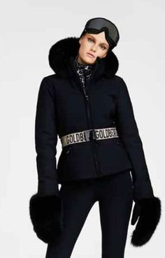 A luxurious stylish black ski jacket in four way stretch softshell fabric which is well insulated, water and wind resistant. This is one of the most luxurious designer pieces on the slopes. Black Ski Jacket, Ski Jackets, Jackets For Women, Leopard Print Pants, Ski Wear, Ski Pants, All Black Outfit, Winter Wardrobe, Skiing