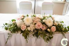 Blush pink and ivory ceremony table arrangement at The Mere Resort is part of Cream wedding flowers - Table Flower Arrangements, Wedding Flower Arrangements, Wedding Centerpieces, Wedding Bouquets, Flowers On Table, Wedding Top Table Flowers, Arch Flowers, Sweet Heart Table Wedding, Head Table Wedding Decorations