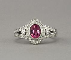 $1550 - new - Pink Main Tourmaline and 54 tiny diamonds. - Pink Maine Tourmaline and Diamond Ring