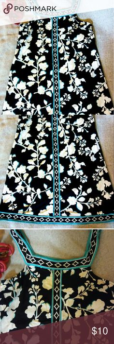 BCBG maxazria dress Reposh shift dress.  Square neckline beautiful floral pattern black background neckline turquoise white and black checkered pattern goes down the middle  band around the bottom of the dress says a size small I think it  could fit up to large. 31 and a half inches in length 17 and a half across BCBGMaxAzria Dresses Midi