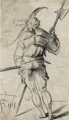 Artist: Graf, Urs, Title: Landsknecht mit Hellebarde, Date: 1513