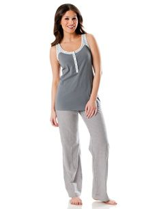Sleeveless Nursing Pajama Set With Convertible Pants