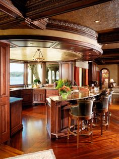 Gorgeous kitchen 424 home bar designs, bars for home, round Luxury Home Decor, Luxury Homes, Beautiful Kitchens, Beautiful Homes, Round Kitchen, Kitchen Ideas, Kitchen Size, Narrow Kitchen, Nice Kitchen