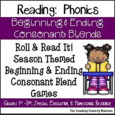 Great Phonics Games to Practice Beginning & Ending Consonant Blends! Set Includes: Fall Beginning & Ending Consonant Blends Roll It! Read It! Words & Sentences: Two types of game cards with beginning & ending consonant words and sentences.