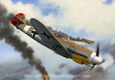 Messerschmitt Bf 109F Hans-Joachim Marseille, Lybia, february 1942. Fighter Aircraft, Fighter Jets, Aviation Art, Luftwaffe, Military Art, Painting & Drawing, Wwii, Digital Art, Gallery