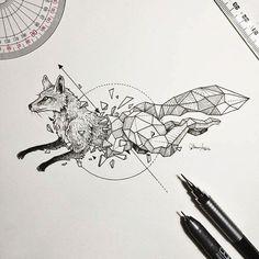art, fox, and animal
