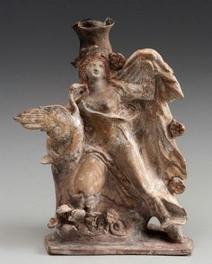 Oil flask with Leda and the Swan - from ancinet Greek area, Classical period, circa 375–350 B.C.