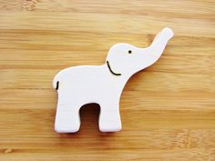 Wooden Elephant Teether- Natural Waldorf Teething Toy