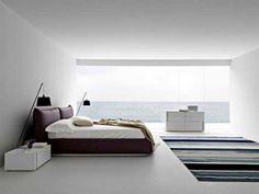 panoramablick meer minimalismus ideen für weißes schlafzimmer