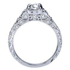 Platinum Diamond Straight Engagement Ring | Gabriel & Co NY | ER8781PT3JJ