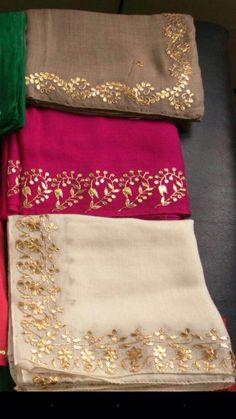 Embroidery Suits Punjabi, Embroidery Suits Design, Embroidery Saree, Embroidery Fashion, Hand Embroidery Designs, Tussar Silk Saree, Chiffon Saree, Saree Gown, Stylish Dress Designs