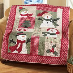 Holiday Country Snowman Quilted Patchwork Throw Blanket Cover 50 x 60 Inches Christmas Quilt Patterns, Christmas Applique, Christmas Sewing, Quilt Block Patterns, Quilt Blocks, Christmas Crafts, Christmas Quilting, Xmas, Quilt Sets