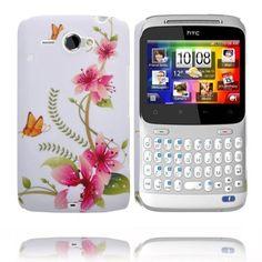 Valentine (Rosa Blommor - Orange Fjäril) HTC ChaCha-Skal