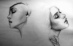 disegni-a-matita-due-volti-donna-primo-piano-laterale-occhi-chiusi-dettagli-molto-realistici