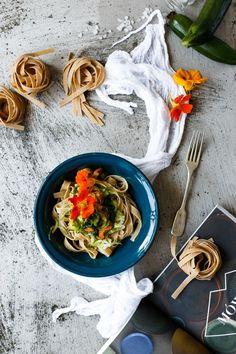 Zucchini flowers spaghetti