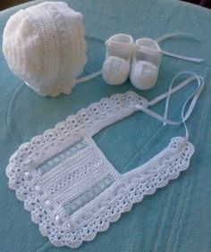 Baby Blessing Shoes, Baptism Shoes, Christening Shoes, Boy – Baby For look here Crochet Baby Bibs, Crochet Baby Clothes, Love Crochet, Baby Blanket Crochet, Crochet For Kids, Beautiful Crochet, Knit Crochet, Knitted Baby, Crochet Baby Sandals