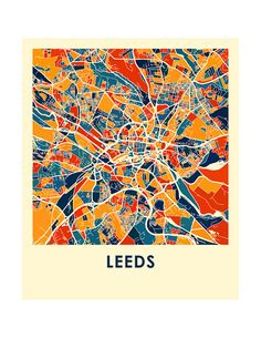 Leeds Map Print Full Color Map Poster by iLikeMaps on Etsy