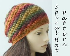 Knit Hat Pattern Spriral Hat Knitting Pattern  Knit by beadedwire