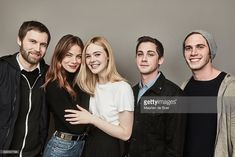 Filmmaker Shawn Christensen, actors Michelle Monaghan, Elle Fanning, Logan Lerman and Blake Jenner from the film 'Sidney Hall' poses in the Getty Images Portrait Studio presented by DIRECTV during the 2017 Sundance Film Festival on January 23, 2017 in Park City, Utah.