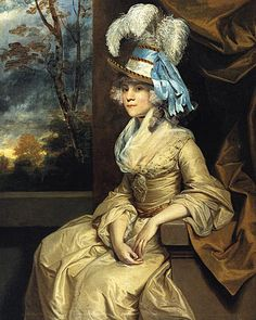 Joshua Reynolds paints Lady Elizabeth Taylor (1781-84) in her high crowned ivory and blue hat.