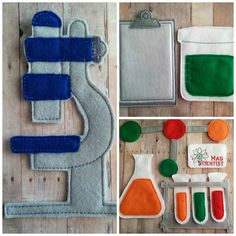 Science Play Set 16 Pieces Embroidered by ShopOrangeBlossoms