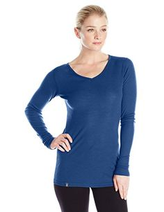 Ibex Merino Wool Womens Woolies 1 Long Sleeve VNeck Shirt Small Baltic >>> For more information, visit image link.(This is an Amazon affiliate link and I receive a commission for the sales)