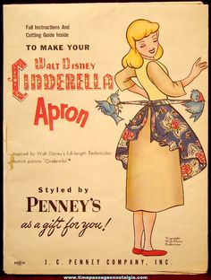 1950s J. C. Penney's Advertising Premium Walt Disney Cinderella Apron Pattern & Instructions
