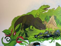 Jurassic park theme ... Wall Paintings, Jurassic Park, Wallpaper, Handmade, Hand Made, Wall Murals, Murals, Wallpapers, Craft