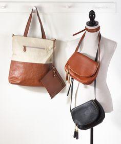 f6900d6b648 (left) Vegan leather base tot bag + detachable wristlet in natural. (right)  Vegan leather cross body bag in brown and black