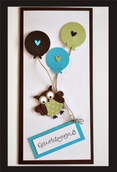 Flying Birthday ballooon Owl card - bjl